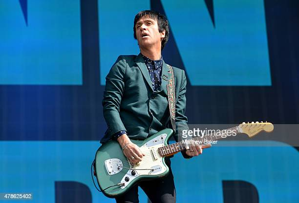 Johnny Marr performs at the Barclaycard British Summertime gigs at Hyde Park on June 26 2015 in London England