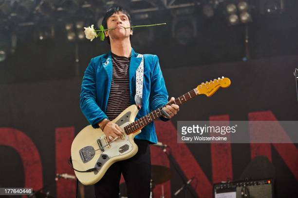 Johnny Marr performs on stage on Day 3 of Leeds Festival 2013 at Bramham Park on August 25 2013 in Leeds England