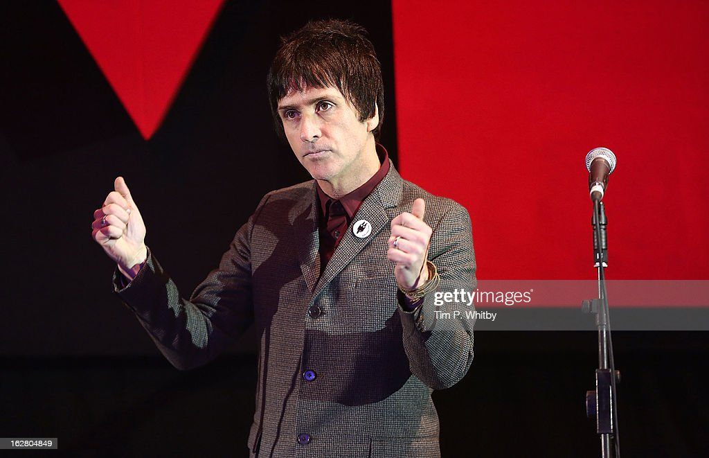Johnny Marr wins the Godlike Genius award at the NME Awards 2013 at the Troxy on February 27, 2013 in London, England.