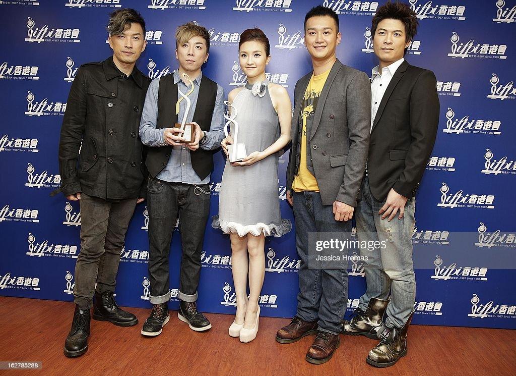 Johnny, Masaki, Mag Lam, Deep and Ryan of 'Closer' at the 2013 IFPI Hong Kong Top Sales Music Awards at Star Hall on February 26, 2013 in Hong Kong, Hong Kong.