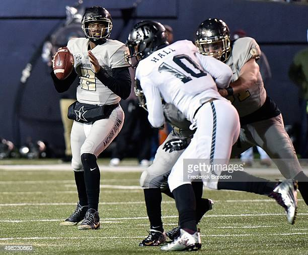 Johnny McCrary of the Vanderbilt Commodores plays against Daeshon Hall of the Texas AM Aggies during the second half at Vanderbilt Stadium on...