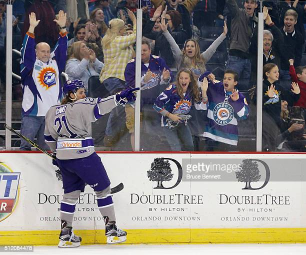 Johnny McInnis of Orlando Solar Bears celebrates his goal against the Atlanta Gladiators on February 12 2016 in Orlando Florida