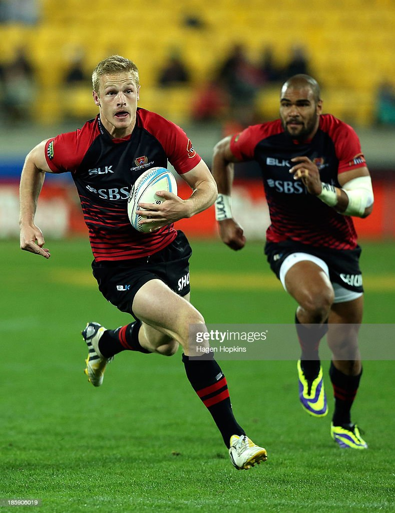 Johnny McNicholl of Canterbury in action during the ITM Cup Premiership Final match between Wellington and Canterbury at Westpac Stadium on October 26, 2013 in Wellington, New Zealand.