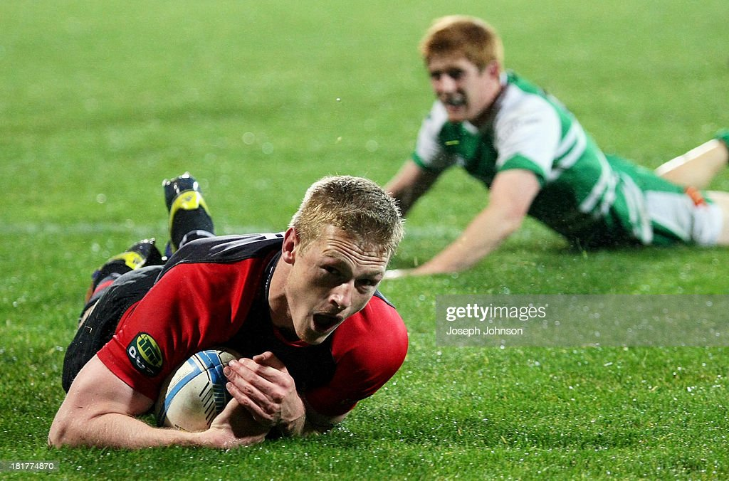 Johnny McNicholl of Canterbury scores a try during the round 7 ITM Cup match between Canterbury and Manawatu at AMI Stadium on September 25, 2013 in Christchurch, New Zealand.