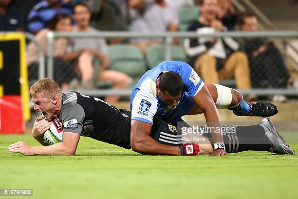Johnny McNicholl of the Crusaders crosses for a try during the round seven Super Rugby match between the Force and the Crusaders at nib Stadium on...