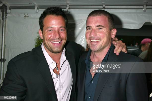 Johnny Messner and Dominic Purcell during 2005/2006 FOX Prime Time UpFront Inside Green Room and Party at Seppi's Restaurant and Central Park...