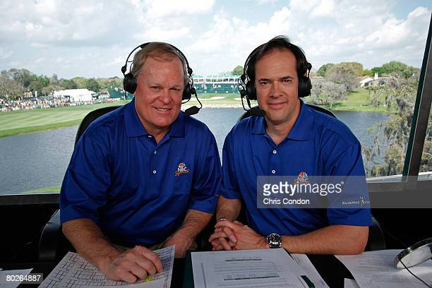Johnny Miller and Dan Hicks man the broadcast booth during the third round of the Arnold Palmer Invitational presented by MasterCard held on March 15...