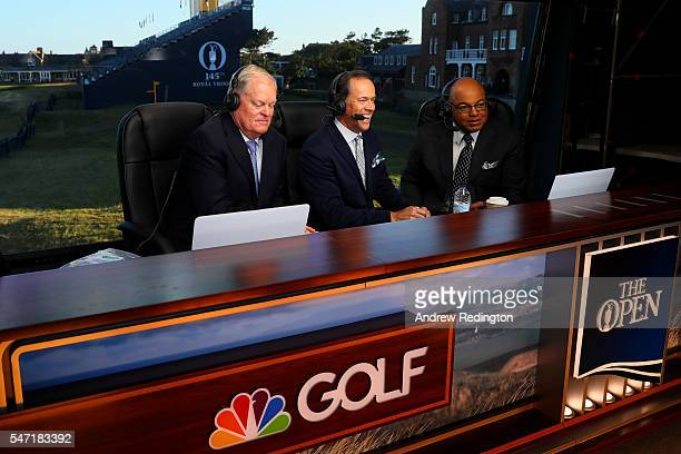 Johnny Miller Dan Hicks and Mike Tirico speak onair before the first round on day one of the 145th Open Championship at Royal Troon on July 14 2016...