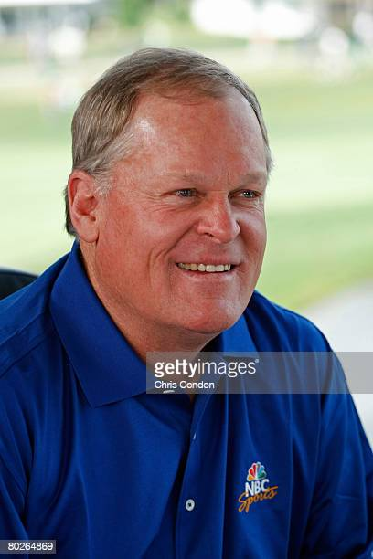 Johnny Miller of NBC Sports rehearses before going on the air during the third round of the Arnold Palmer Invitational presented by MasterCard held...