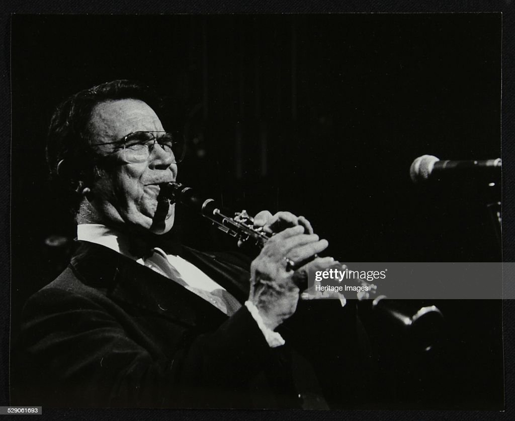 Johnny Mince playing his clarinet Stevenage Hertfordshire 1984 Artist Denis Williams