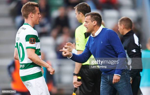 Johnny Molby head coach of Viborg FF speaks to Jeppe Curth of Viborg FF during the Danish Alka Superliga match between Viborg FF and AGF Aarhus at...