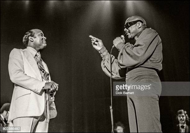 Johnny Moore of The Drifters performing on stage at Hammersmith Odeon London 12th October 1975