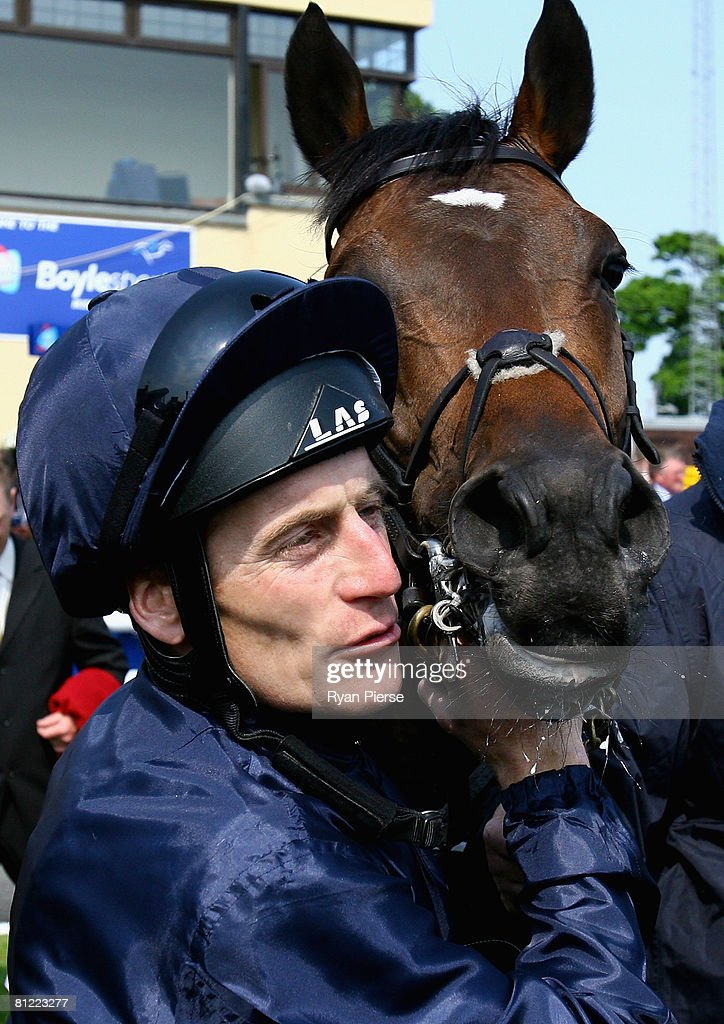 Johnny Murtagh celebrates after riding Henrythenavigator to victory in the 2000 Guineas at Curragh Racecourse on May 24 2008 in Curragh Ireland