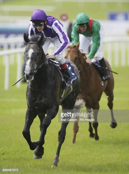 Johnny Murtagh riding Mastercraftsman on his way to winning the Boylesportscom Irish 2000 Guineas during the Boylesportscom Irish 2000 Guineas Day at...