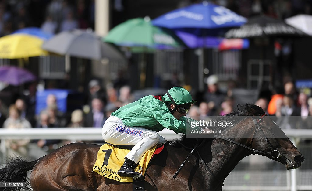 Johnny Murtagh riding Sharestan win The Dubai Duty Free Tennis Championship Celebration Stakes at Curragh racecourse on June 30 2012 in Kildare...