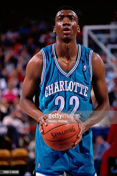 Johnny Newman of the Charlotte Hornets shoots a foul shot against the Sacramento Kings during a game played on February 27 1991 at Arco Arena in...