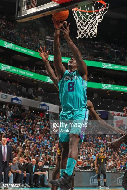 Johnny O'Bryant III of the Charlotte Hornets goes to the basket against the Atlanta Hawks on October 20 2017 at Spectrum Center in Charlotte North...