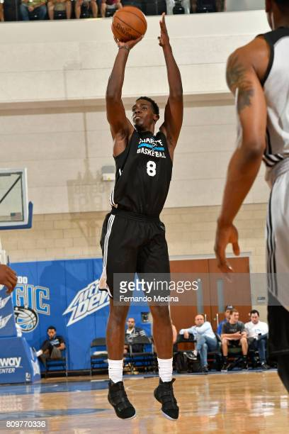 Johnny O'Bryant III of the Charlotte Hornets shoots the ball against the Orlando Magic during the Mountain Dew Orlando Pro Summer League on July 6...