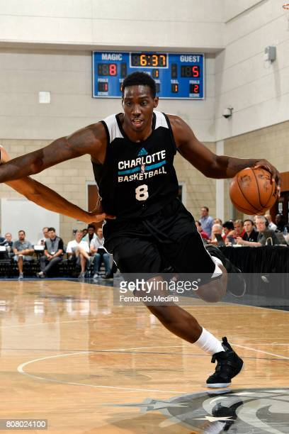 Johnny OBryant of the Charlotte Hornets drives to the basket during the game against the Oklahoma City Thunder during the 2017 Orlando Summer League...