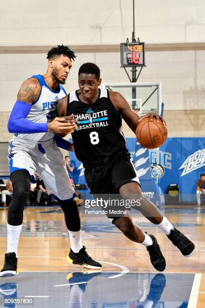 Johnny OBryant of the Charlotte Hornets drives to the basket during the game against the Detroit Pistons during the 2017 Orlando Summer League on...