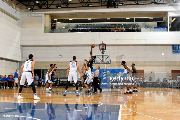 Johnny OBryant of the Charlotte Hornets goes for the tip off against Oklahoma City Thunder during the 2017 Orlando Summer League on July 4 2017 at...