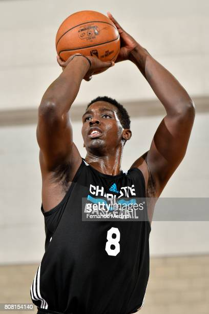 Johnny OBryant of the Charlotte Hornets shoots a free throw during the game against the Oklahoma City Thunder during the 2017 Orlando Summer League...