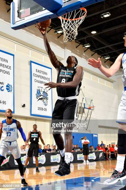 Johnny OBryant of the Charlotte Hornets shoots a lay up during the game against the Detroit Pistons during the 2017 Orlando Summer League on July 5...