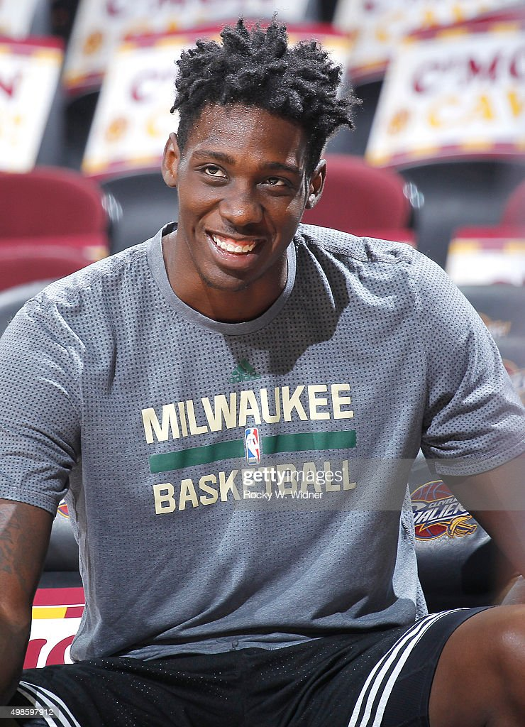Johnny O'Bryant #77 of the Milwaukee Bucks warms up against the Cleveland Cavaliers on November 19, 2015 at Quicken Loans Arena in Cleveland, Ohio.