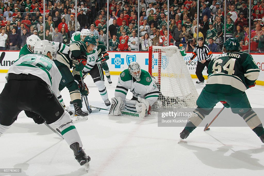 Johnny Oduya #47, Colton Sceviour #22, Alex Goligoski #33, and Antti Niemi #31 of the Dallas Stars defend against Nino Niederreiter #22 and Mikael Granlund #64 of the Minnesota Wild in Game Four of the Western Conference First Round during the 2016 NHL Stanley Cup Playoffs on April 20, 2016 at the Xcel Energy Center in St. Paul, Minnesota.