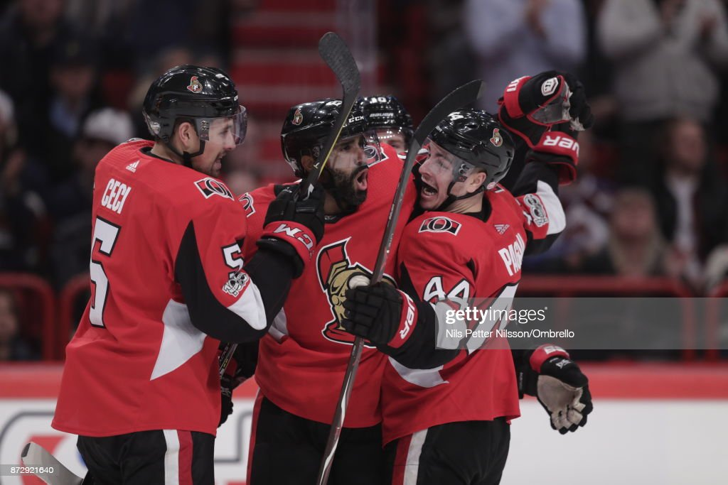 Johnny Oduya #29 of Ottawa Senators celebrates after scoring to 3-3 during the 2017 SAP NHL Global Series match between Colorado Avalanche and Ottawa Senators at Ericsson Globe on November 11, 2017 in Stockholm, Sweden.