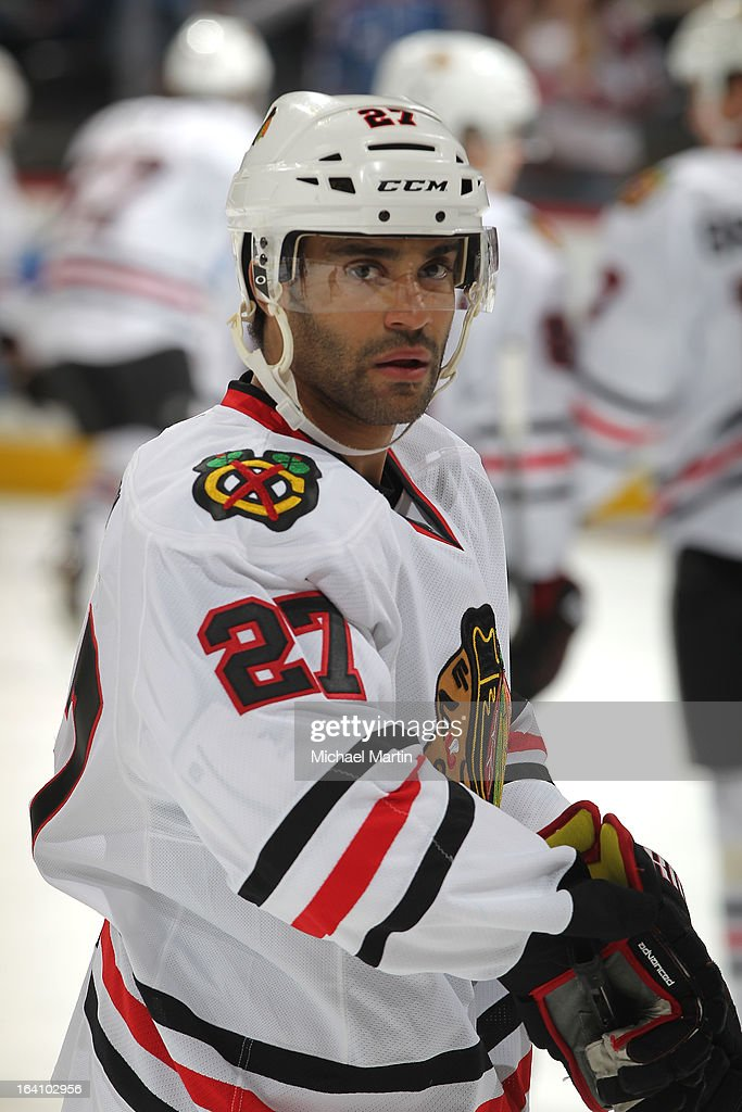 Johnny Oduya #27 of the Chicago Blackhawks skates against the Colorado Avalanche at the Pepsi Center on March 18, 2013 in Denver, Colorado. Chicago beat Colorado 5-2.