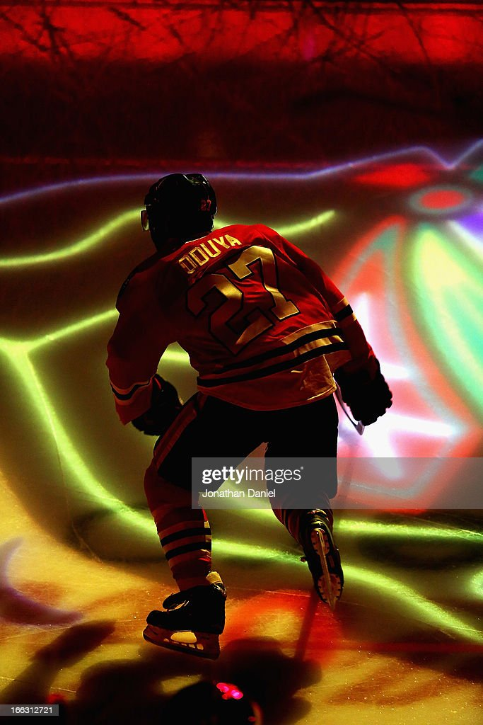 <a gi-track='captionPersonalityLinkClicked' href=/galleries/search?phrase=Johnny+Oduya&family=editorial&specificpeople=3944055 ng-click='$event.stopPropagation()'>Johnny Oduya</a> #27 of the Chicago Blackhawks skates onto the ice before taking on the Nashville Predators at the United Center on April 7, 2013 in Chicago, Illinois. The Blackhawks defeated the Predators 5-3.