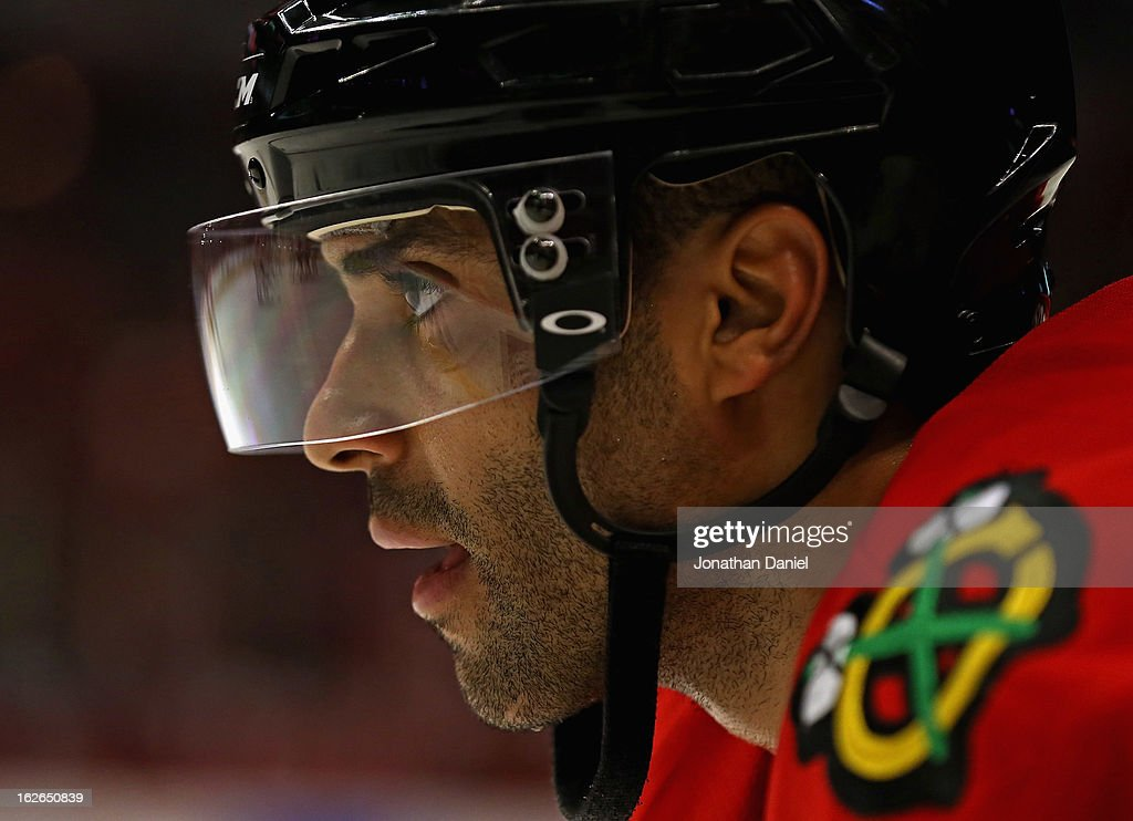 <a gi-track='captionPersonalityLinkClicked' href=/galleries/search?phrase=Johnny+Oduya&family=editorial&specificpeople=3944055 ng-click='$event.stopPropagation()'>Johnny Oduya</a> #27 of the Chicago Blackhawks waits for a face-off against the Columbus Blue Jackets at the United Center on February 24, 2013 in Chicago, Illinois. The Blackhawks defeated the Blue Jackets 1-0.