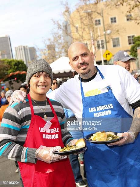 Johnny Ortiz is seen at the annual Los Angeles Mission Christmas Dinner on December 24 2015 in Los Angeles California
