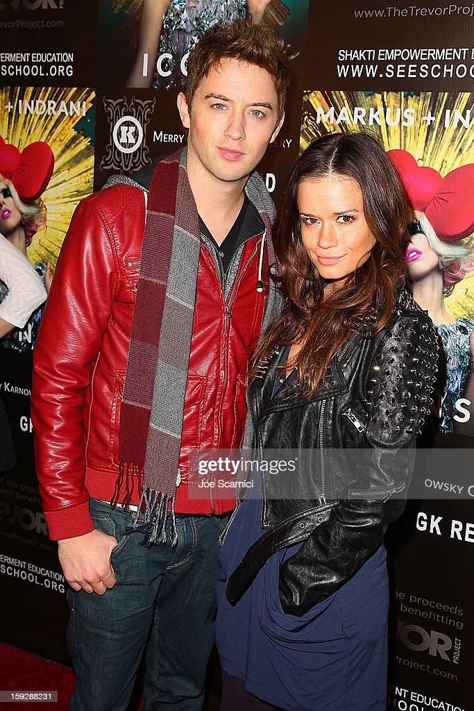 Johnny Pacar and Christie Burson arrive at Markus + Indrani Icons book launch party hosted by Carmen Electra benefiting The Trevor Project at Merry Karnowsky Gallery & Graffiti on January 10, 2013 in Los Angeles, California.