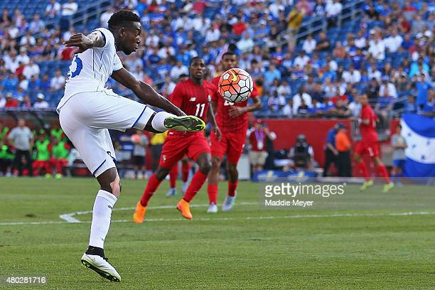 Johnny Palacios of Honduras takes a shot on goal during the 2015 CONCACAF Gold Cup match between Honduras and Panama at Gillette Stadium on July 10...