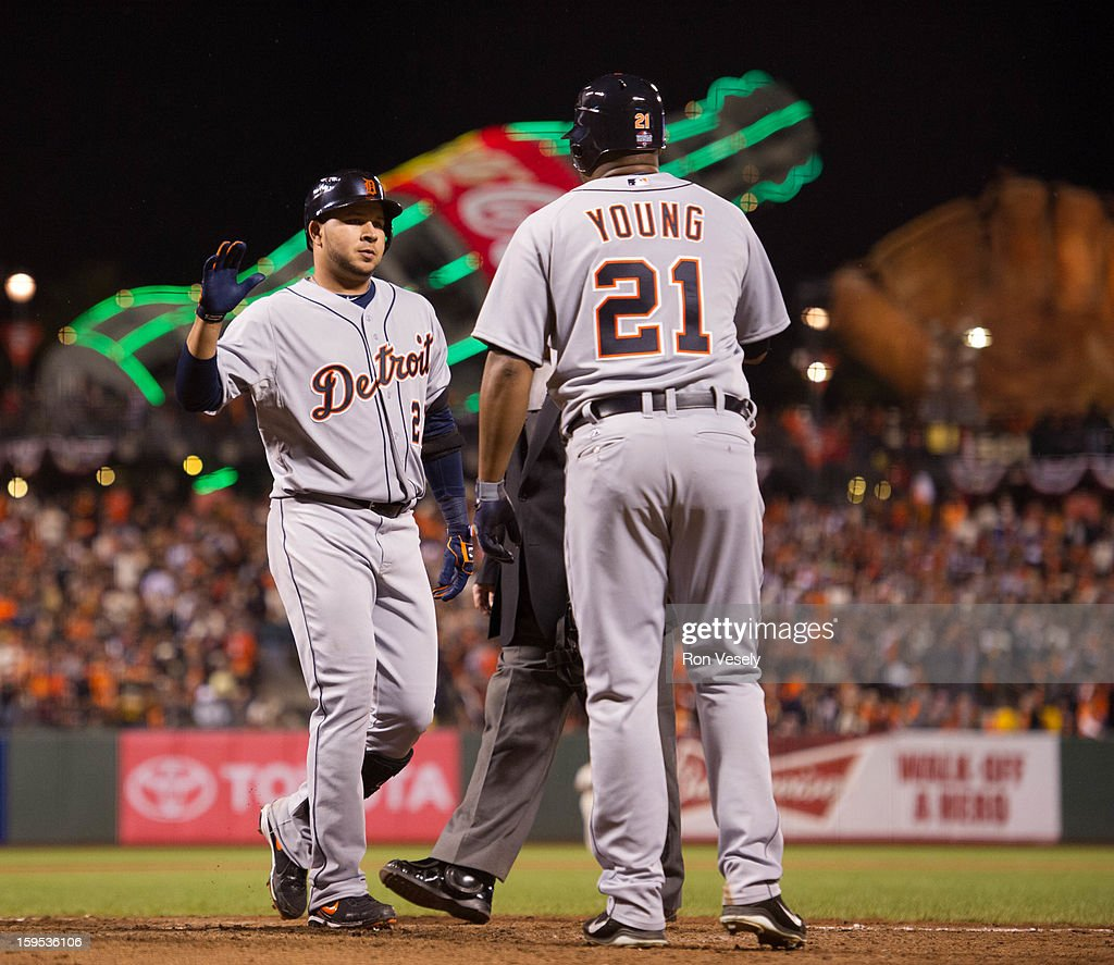 Johnny Peralta #27 of the Detroit Tigers celebrates with teammate Delmon Young #21 after hitting a two run home run in the top of the ninth inning during Game One of the 2012 World Series against the San Francisco Giants on October 24, 2012 at AT&T Park in San Francisco, California.