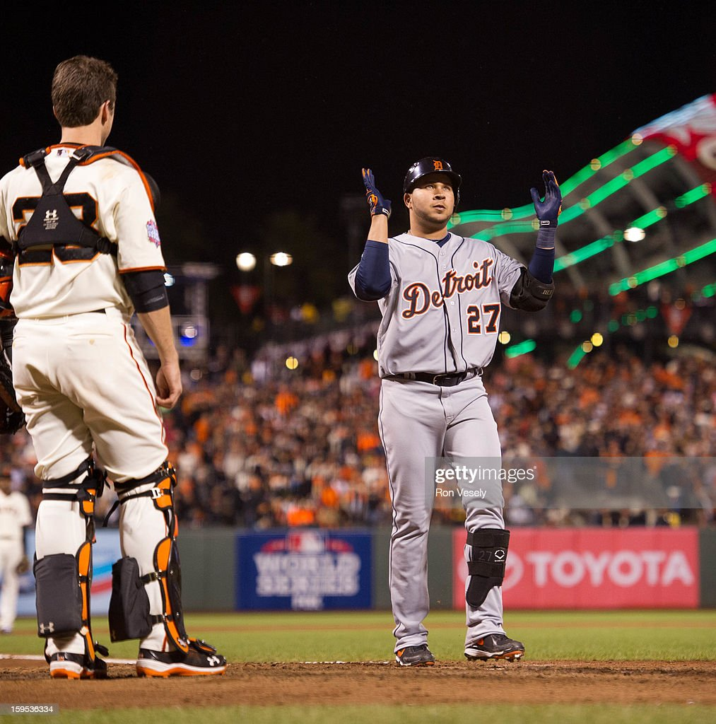 Johnny Peralta #27 of the Detroit Tigers claps his hands as he touches home plate after hitting a two run home run in the top of the ninth inning during Game One of the 2012 World Series against the San Francisco Giants on October 24, 2012 at AT&T Park in San Francisco, California.