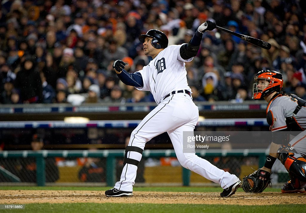 Johnny Peralta #27 of the Detroit Tigers flies out to deep left field in the bottom of the sixth inning during Game 4 of the 2012 World Series against the San Francisco Giants on Sunday, October 28, 2012 at Comerica Park in Detroit, Michigan.