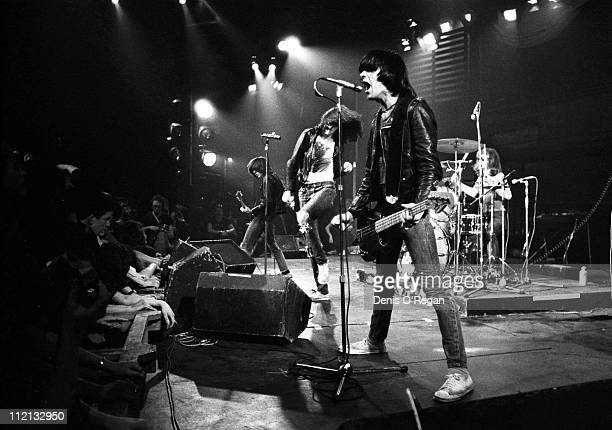 Johnny Ramone Joey Ramone and Dee Dee Ramone of The Ramones live at the Roundhouse in London January 1978