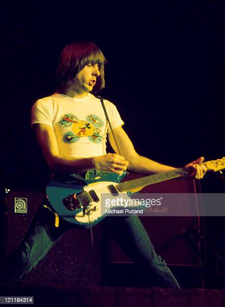 Johnny Ramone of The Ramones performs on stage at The Roundhouse London 4th July 1976