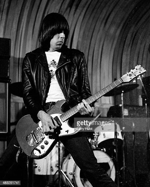 Johnny Ramone performing with the 'Ramones' at Slick Willies in Sacramento California on August 20 1976