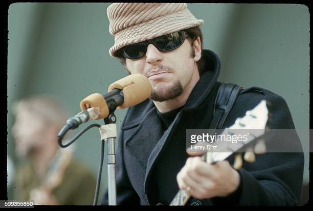 Johnny Rivers sings and plays guitar during a sound check for a concert at the Hollywood Bowl