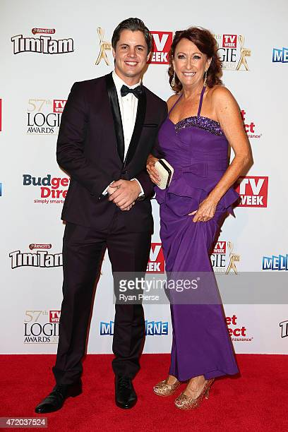 Johnny Ruffo and Lynne McGranger arrive at the 57th Annual Logie Awards at Crown Palladium on May 3 2015 in Melbourne Australia