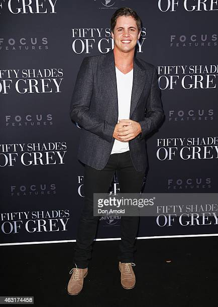Johnny Ruffo arrives at the 'Fifty Shades of Grey' screening at the Entertainment Quarter on February 11 2015 in Sydney Australia