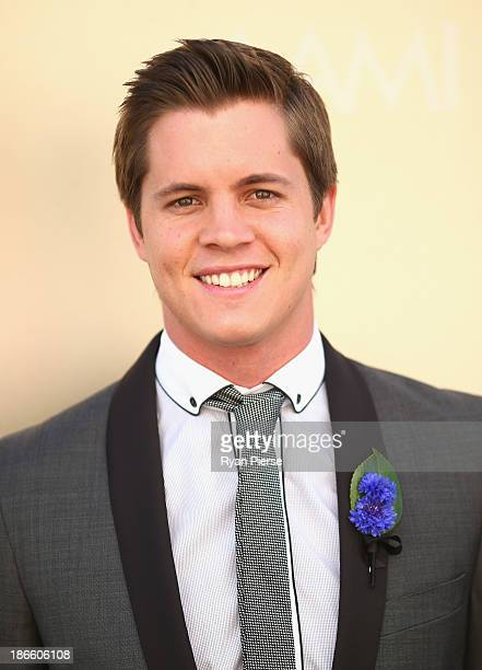 Johnny Ruffo arrives on Victoria Derby Day at Flemington Racecourse on November 2 2013 in Melbourne Australia