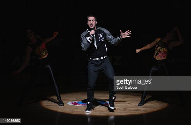Johnny Ruffo performs before the ANZ Championship Grand Final match between the Melbourne Vixens and the Waikato Bay of Plenty Magic at Hisense Arena...