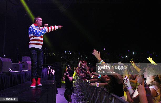 Johnny Ruffo performs live on stage at Hisense Arena on April 16 2012 in Melbourne Australia