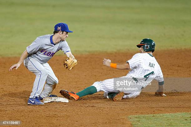 Johnny Ruiz of the Miami Hurricanes steals second base under the tag of Casey Turgeon of the Florida Gators on February 21 2014 at Alex Rodriguez...