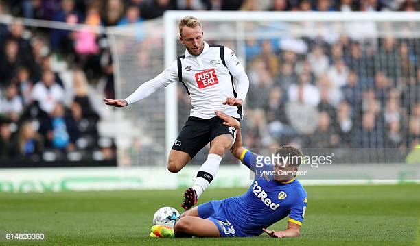 Johnny Russell of Derby County and Kalvin Phillips of Leeds United during the Sky Bet Championship match between Derby County and Leeds United at...